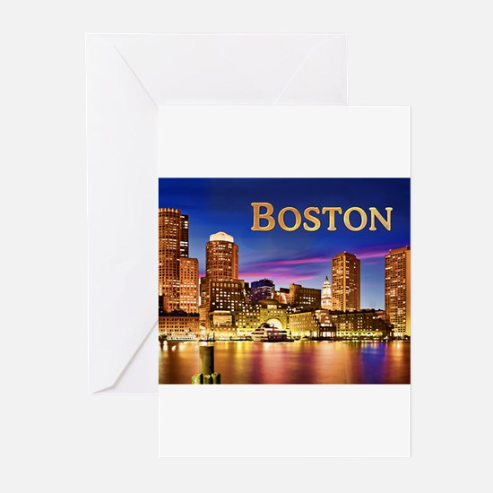 Boston Harbor at Night text BOSTON Greeting Cards