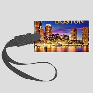 Boston Harbor at Night text BOST Large Luggage Tag