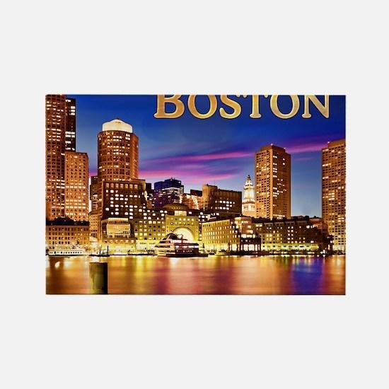 Boston Harbor at Night text BOSTO Magnets