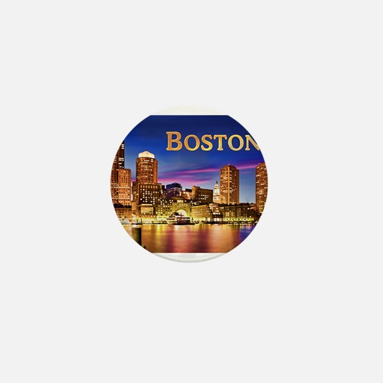 Boston Harbor at Night text BOSTON cop Mini Button