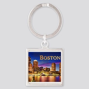 Boston Harbor at Night text BOSTON copy Keychains