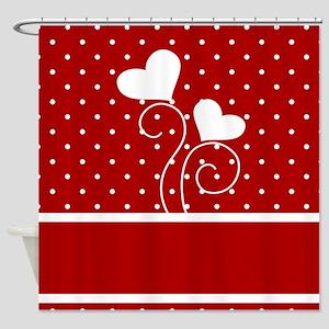 Hearts and Polka Dots Shower Curtain
