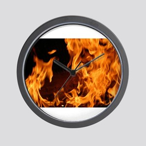fire orange black flames Wall Clock