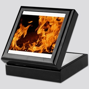fire orange black flames Keepsake Box