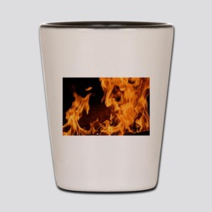 fire orange black flames Shot Glass