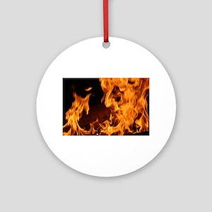 fire orange black flames Ornament (Round)