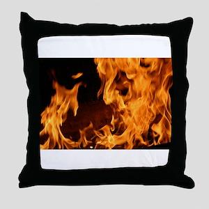 fire orange black flames Throw Pillow