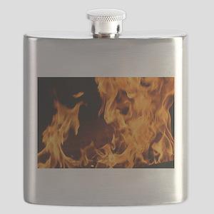 fire orange black flames Flask