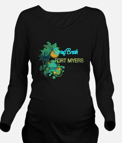 Palm Trees Circles Long Sleeve Maternity T-Shirt