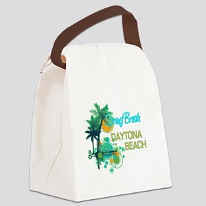 Palm Trees Circles Spring Break Canvas Lunch Bag