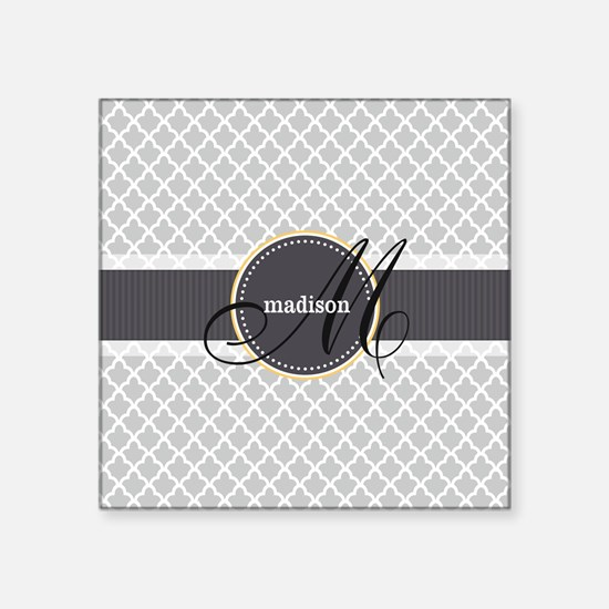 Monogram and Name on Gray Quatrefoil Pattern Stick