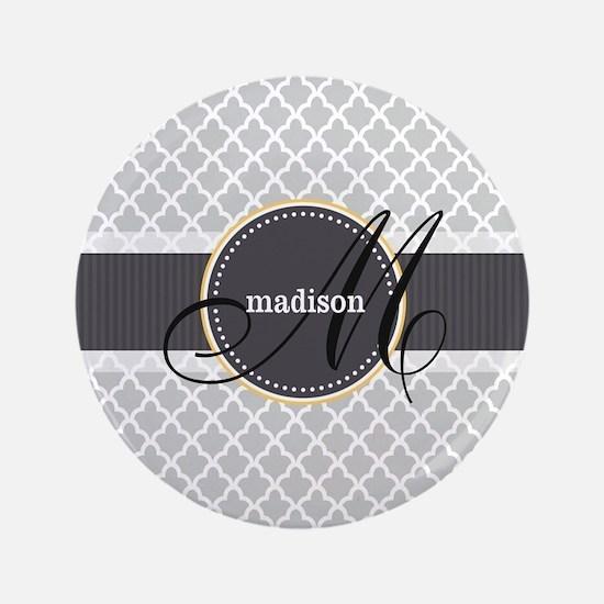 "Monogram and Name on Gray Quatrefoil Pattern 3.5"""