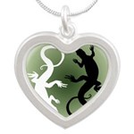 Lizard Art Silver Heart Necklace