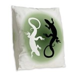 Lizard Art Burlap Throw Pillow