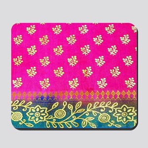 Pink Blue Sari Art Mousepad