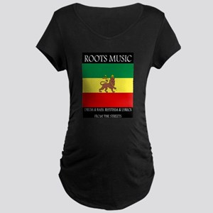 Roots-Music-Flag-Ethiopia-iPad Maternity T-Shirt