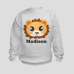 Custom Name Cute Lion Cartoon Kids Sweatshirt