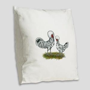 Polish Splash Chickens Burlap Throw Pillow