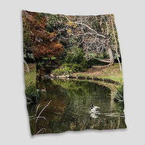 Duckpond Scene Burlap Throw Pillow