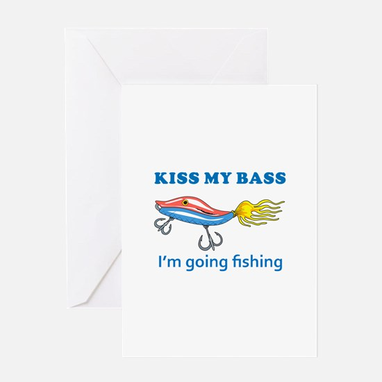 KISS MY BASS Greeting Cards