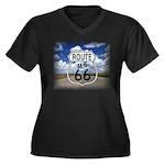 Rt. 66 Women's Plus Size V-Neck Dark T-Shirt
