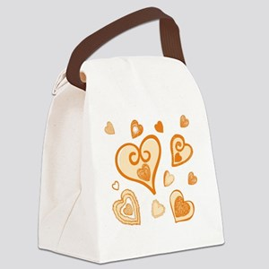 Doodle Hearts GOLD 05 Canvas Lunch Bag