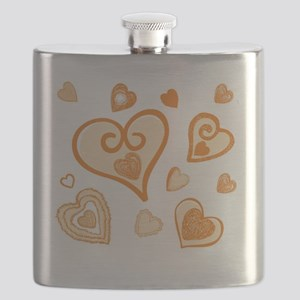 Doodle Hearts GOLD 05 Flask
