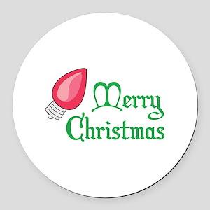 CHRISTMAS LIGHT BULB Round Car Magnet