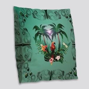 Cute parrot with flowers and palm Burlap Throw Pil