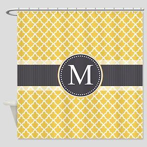 Monogram on Gray and Elegant Quatrefoil Shower Cur