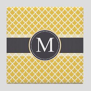 Monogram on Gray and Elegant Quatrefoil Tile Coast