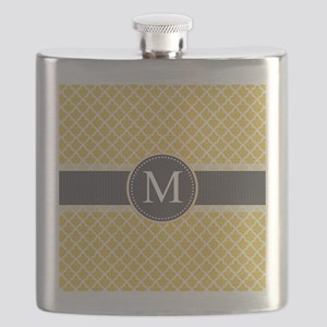 Monogram on Gray and Elegant Quatrefoil Flask