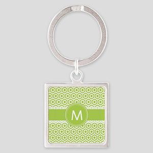 Monogram on Green Retro Honeycomb Pattern Keychain