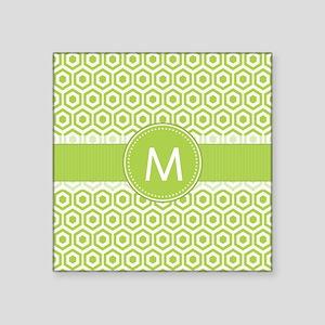 Monogram on Green Retro Honeycomb Pattern Sticker