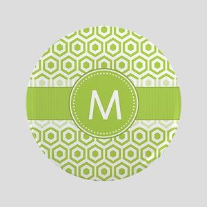 "Monogram on Green Retro Honeycomb Pattern 3.5"" But"