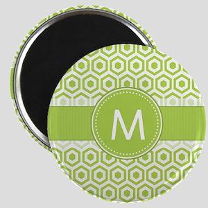 Monogram on Green Retro Honeycomb Pattern Magnets