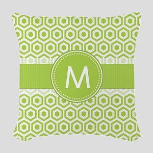 Monogram on Green Retro Honeycomb Pattern Woven Th
