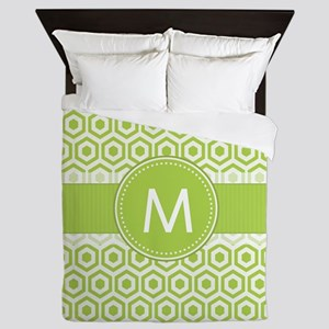 Monogram on Green Retro Honeycomb Pattern Queen Du
