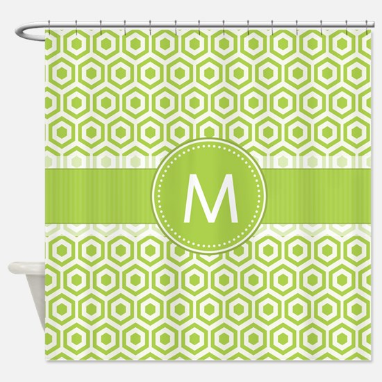 Monogram on Green Retro Honeycomb Pattern Shower C