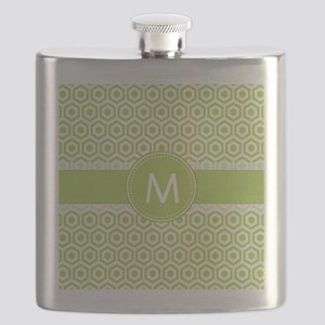 Monogram on Green Retro Honeycomb Pattern Flask