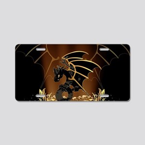 Awesome dragon in gold and black Aluminum License
