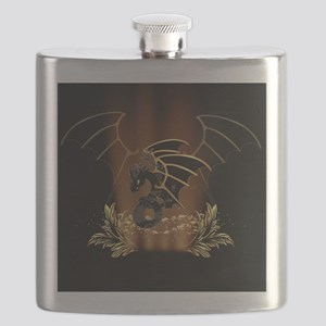 Awesome dragon in gold and black Flask