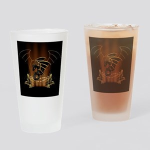 Awesome dragon in gold and black Drinking Glass