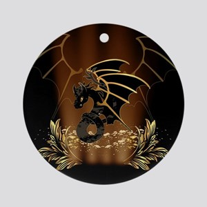 Awesome dragon in gold and black Ornament (Round)