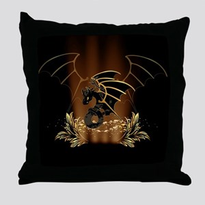 Awesome dragon in gold and black Throw Pillow