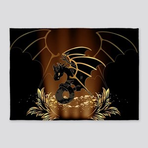 Awesome dragon in gold and black 5'x7'Area Rug
