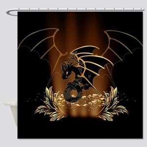 Awesome dragon in gold and black Shower Curtain