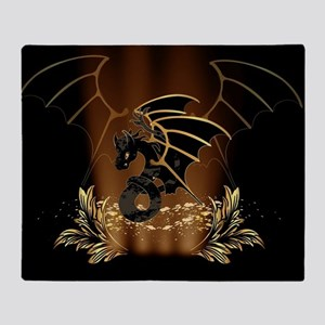 Awesome dragon in gold and black Throw Blanket
