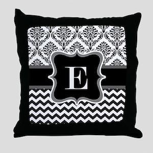 Custom Letter E Chervon demask in black and white