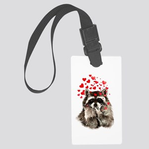 Raccoon Blowing Kisses Cute Large Luggage Tag